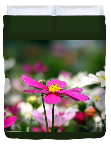 Duvet Cover featuring the photograph Cosmos Flowers by Denise Pohl
