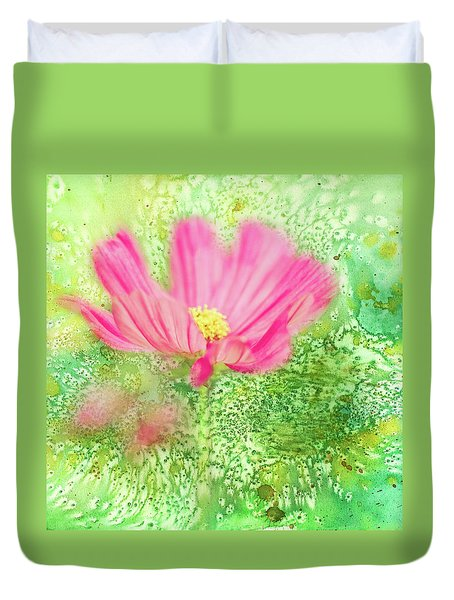Cosmos On Green Duvet Cover