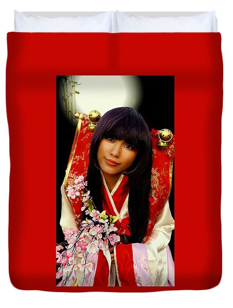 Cosplayer In Japanese Costume Duvet Cover