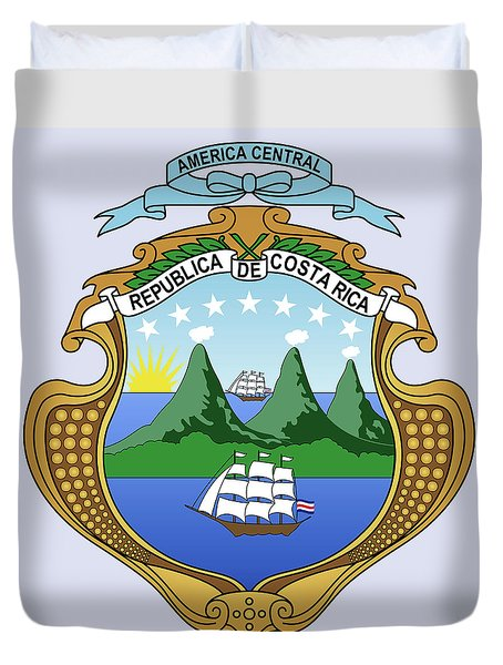 Costa Rica Coat Of Arms Duvet Cover by Movie Poster Prints