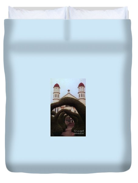 Costra Rica Garden Church Duvet Cover