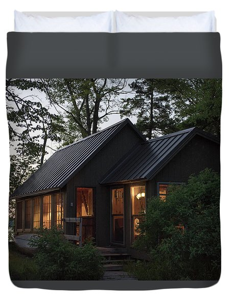 Duvet Cover featuring the photograph Cosy Cabin In The Woods by Gary Eason