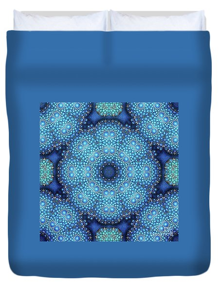 Duvet Cover featuring the drawing Cote D'azur by Mo T