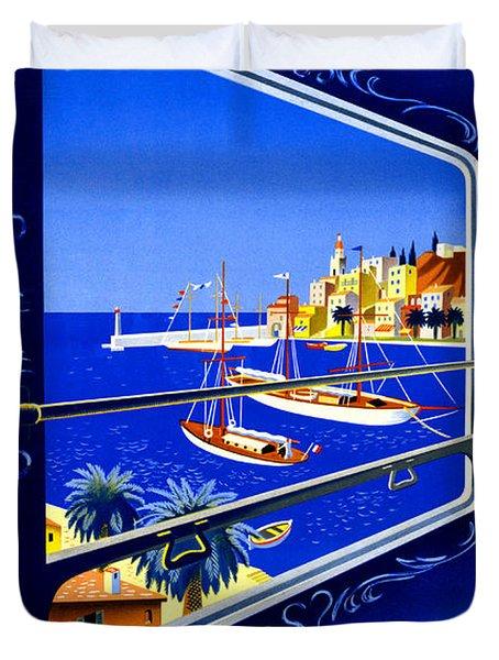 Cote D'azur Vintage Poster Restored Duvet Cover