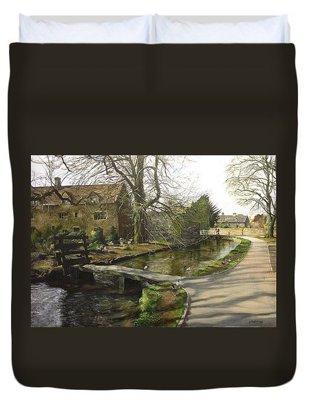 Duvet Cover featuring the painting Cotswolds Scene. by Harry Robertson