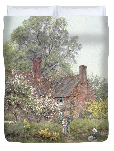 Cottage At Chiddingfold Duvet Cover by Helen Allingham
