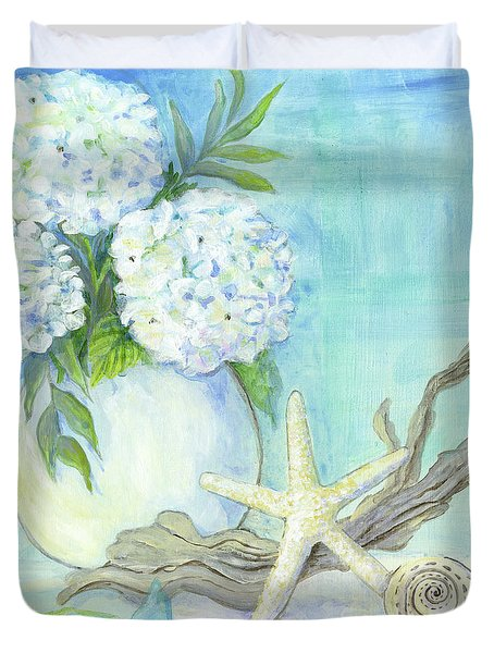 Cottage At The Shore 1 White Hydrangea Bouquet W Driftwood Starfish Sea Glass And Seashell Duvet Cover
