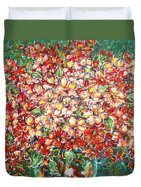 Duvet Cover featuring the painting Cottage Garden Flowers by Natalie Holland