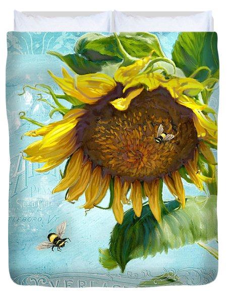 Cottage Garden Sunflower - Everlastings Seeds N Flowers Duvet Cover by Audrey Jeanne Roberts