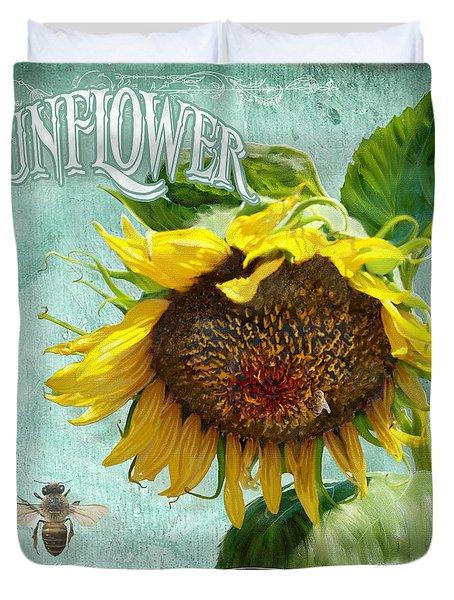 Cottage Garden - Sunflower Standing Tall Duvet Cover by Audrey Jeanne Roberts