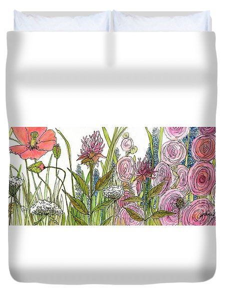 Cottage Hollyhock Garden Duvet Cover