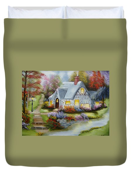 Cottage In Fall Duvet Cover