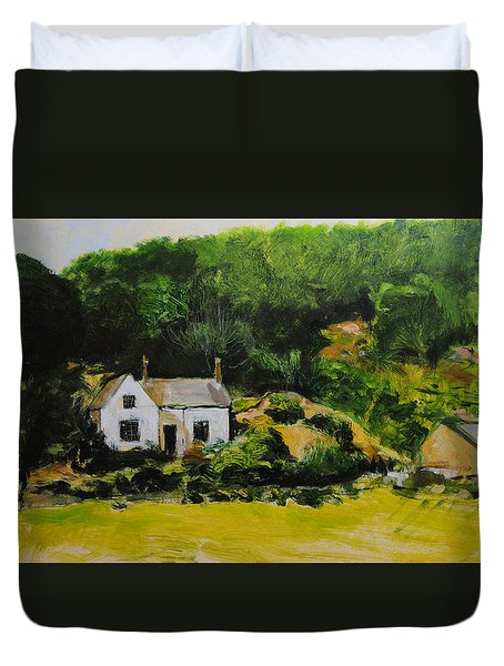 Duvet Cover featuring the painting Cottage In Wales by Harry Robertson