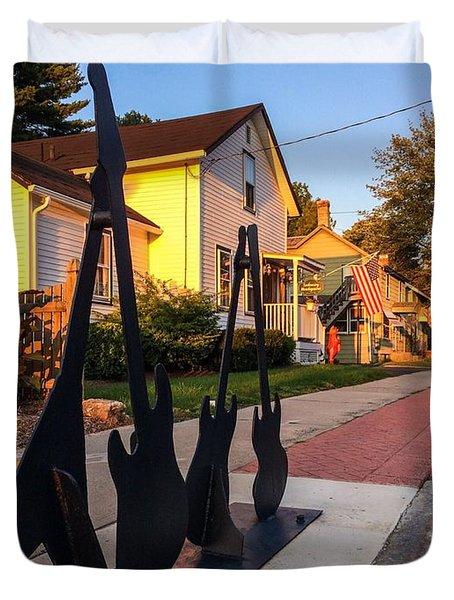 Cottage Street Guitars Duvet Cover