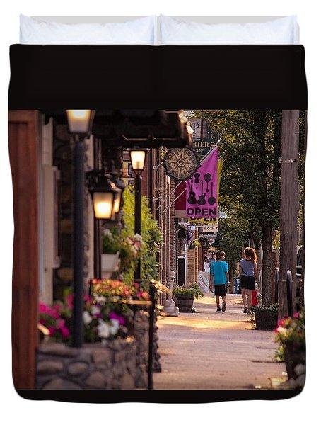 Cottage Street Stroll Duvet Cover