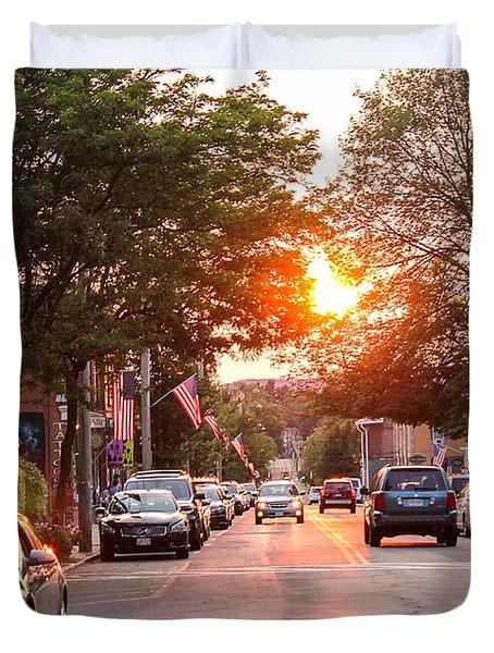 Cottage Street Summer Sunset Duvet Cover
