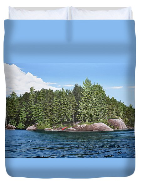 Duvet Cover featuring the painting Cottage View Silver Lake by Kenneth M Kirsch