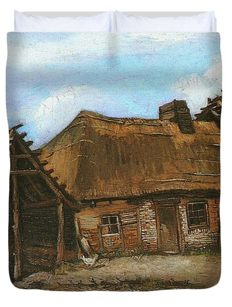 Cottage With Decrepit Barn And Stooping Woman, 1885 Duvet Cover