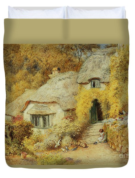 Cottages At Selworthy, Somerset Duvet Cover