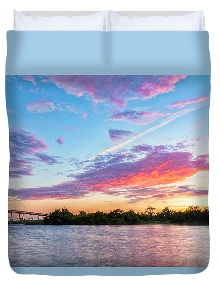 Duvet Cover featuring the photograph Cotton Candy Sunset by Russell Pugh