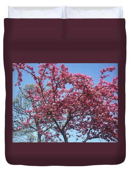 Duvet Cover featuring the painting Cotton Candy Tree by Judith Desrosiers