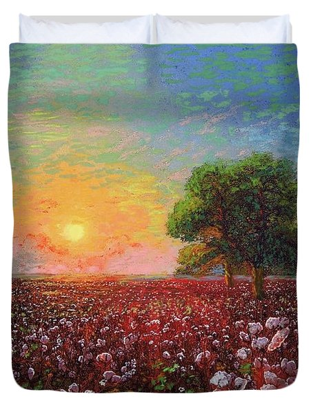 Cotton Field Sunset Duvet Cover