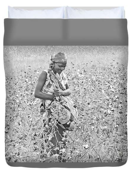 Duvet Cover featuring the photograph Cotton Picker by Pravine Chester