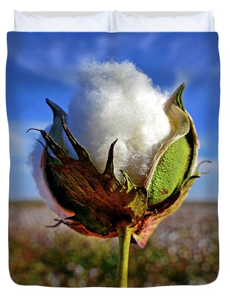 Duvet Cover featuring the photograph Cotton Pickin' by Skip Hunt