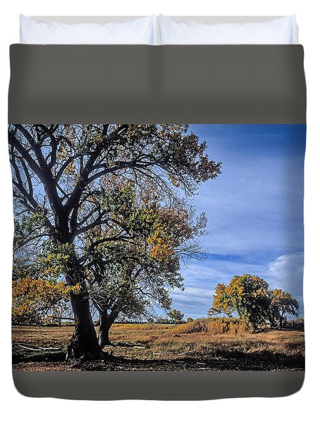Cottonwood #5 Fall Ranch Colorado Blue Sky Duvet Cover