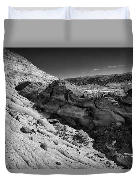 Cottonwood Creek Strange Rocks 7 Bw Duvet Cover