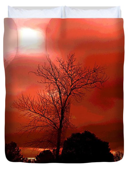 Duvet Cover featuring the photograph Cottonwood Crimson Sunset by Joyce Dickens