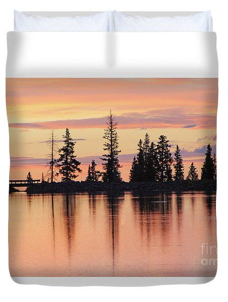 Cottonwood Sunset Lake Reflections  Duvet Cover
