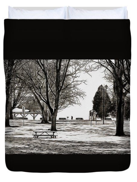 Couchiching Park In Pencil Duvet Cover