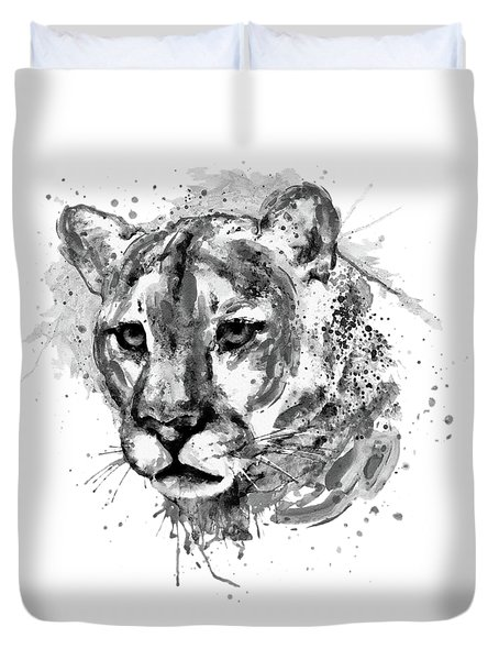 Duvet Cover featuring the mixed media Cougar Head Black And White by Marian Voicu