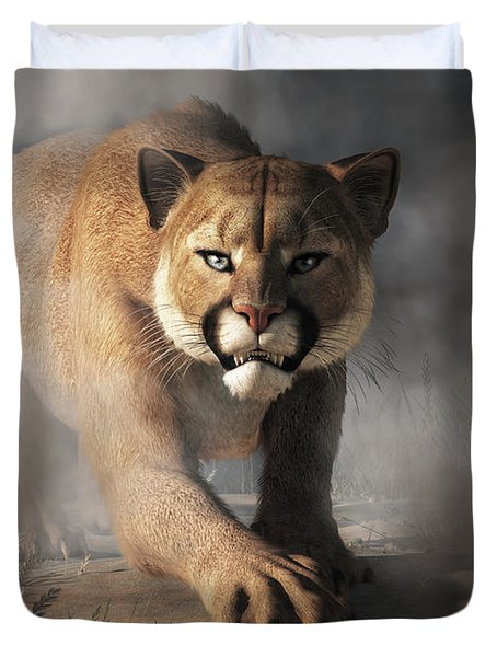 Duvet Cover featuring the digital art Cougar Is Gonna Get You by Daniel Eskridge