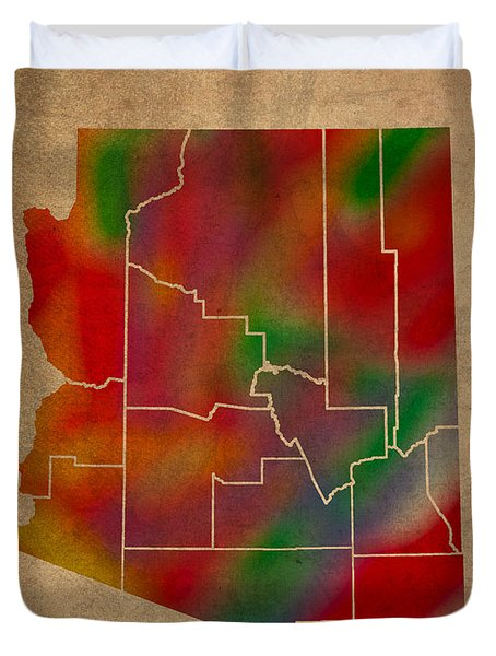 Counties Of Arizona Colorful Vibrant Watercolor State Map On Old Canvas Duvet Cover