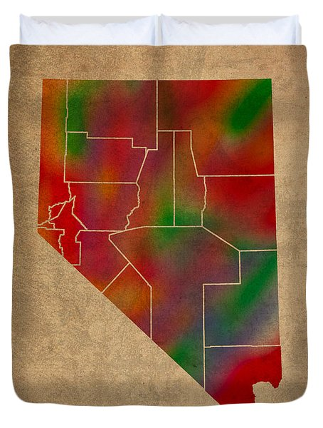 Counties Of Nevada Colorful Vibrant Watercolor State Map On Old Canvas Duvet Cover