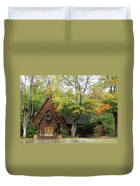 Duvet Cover featuring the photograph Country Chapel by Jerry Battle