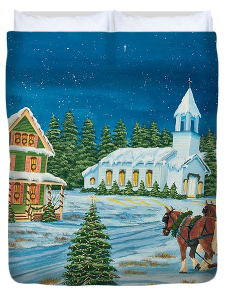 Country Christmas Duvet Cover by Charlotte Blanchard