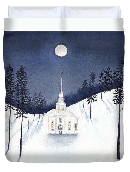 Country Church In Moonlight 2, Silent Night Duvet Cover