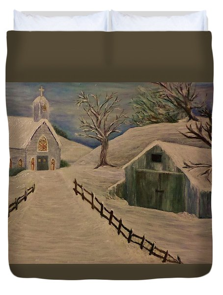 Country Church In The Snow Duvet Cover by Christy Saunders Church