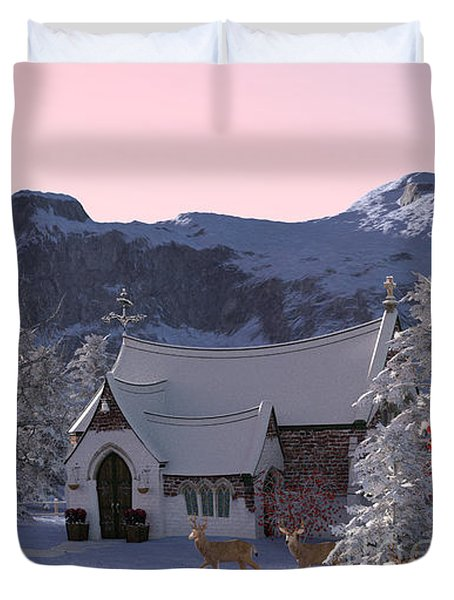 Duvet Cover featuring the digital art Country Church by Methune Hively