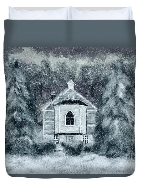 Duvet Cover featuring the digital art Country Church On A Snowy Night by Lois Bryan