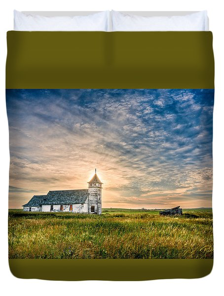 Country Church Sunrise Duvet Cover by Rikk Flohr