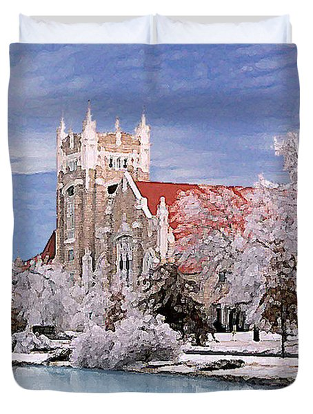 Duvet Cover featuring the photograph Country Club Christian Church by Steve Karol