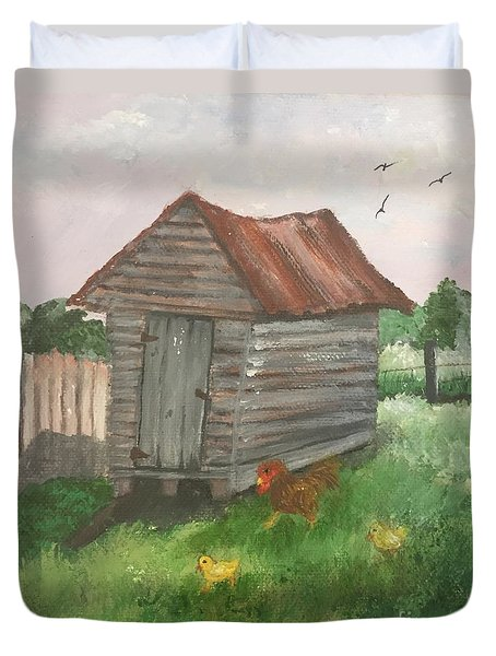 Duvet Cover featuring the painting Country Corncrib by Lucia Grilletto