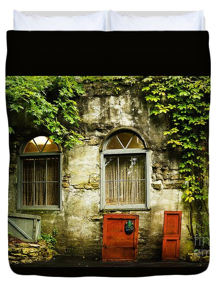 Duvet Cover featuring the photograph Country Cottage And Six Pane Windows by MaryJane Armstrong