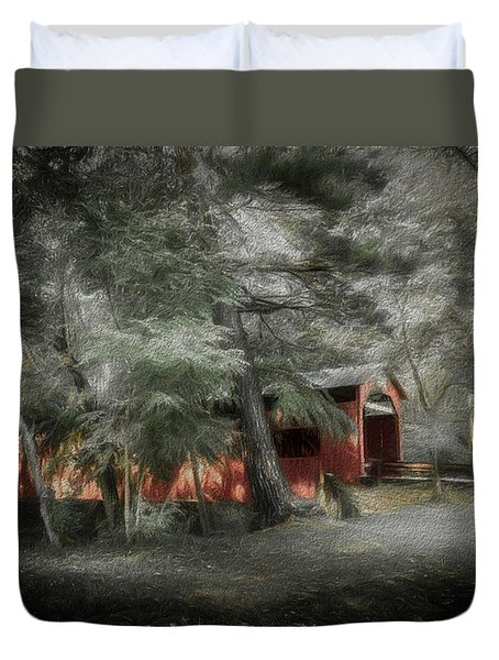 Duvet Cover featuring the photograph Country Crossing by Marvin Spates