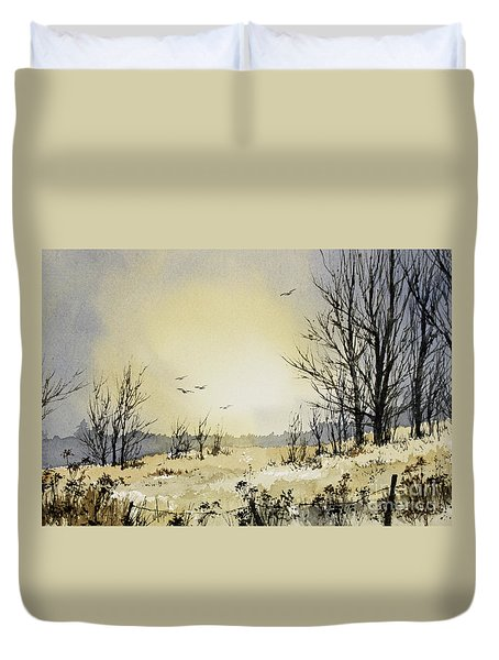 Duvet Cover featuring the painting Country Dawn by James Williamson