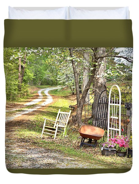 Country Driveway In Springtime Duvet Cover